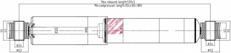 Амортизатор задний для SAF SKRS 1994-1999 - Фото №1
