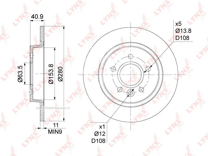 Купить Диск тормозной задний Ford Focus II 2005-2008; (BN-1021)