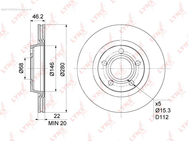 Купить Диск тормозной передний вентилируемый Audi A4 [B5] 1994-2001; (BN-1203)