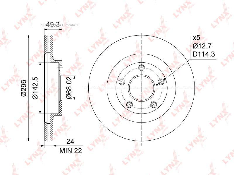 Купить Диск тормозной передний вентилируемый Nissan Teana J31 2003-2008; (BN-1103)