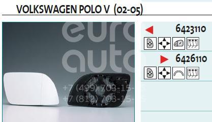 Купить Стекло зеркала электрического левого VW Polo Classic 1995-2002; (6423110)