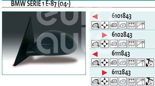 Зеркало левое электрическое для BMW 1-серия E87/E81 2004-2011 - Фото №1