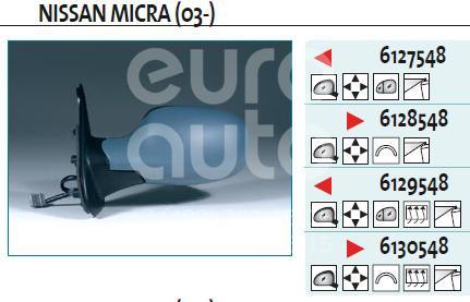 Зеркало левое электрическое для Nissan Micra (K12E) 2002> - Фото №1