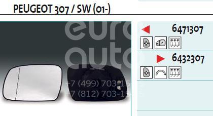Стекло зеркала электрического правого для Peugeot 307 2001-2007 - Фото №1