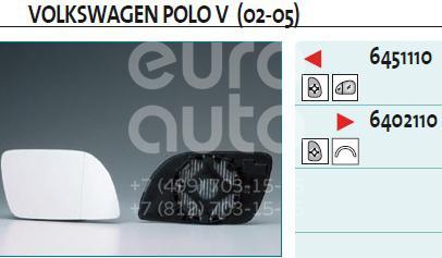 Стекло зеркала электрического правого VW Polo 2001-2009; (6402110)  - купить со скидкой