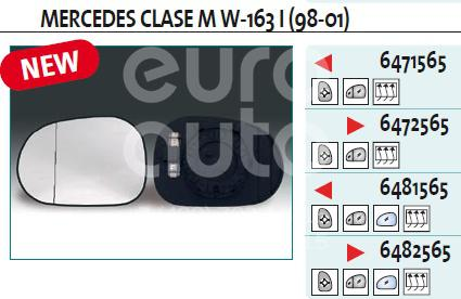 Стекло зеркала электрического левого для Mercedes Benz W163 M-Klasse (ML) 1998-2004 - Фото №1