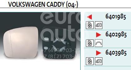 Купить Стекло зеркала электрического правого VW Caddy III 2004-2015; (6402985)