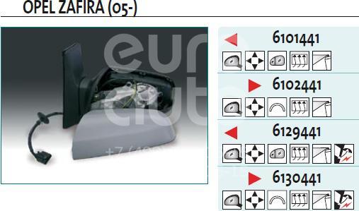 Зеркало левое электрическое для Opel Zafira B 2005-2012 - Фото №1