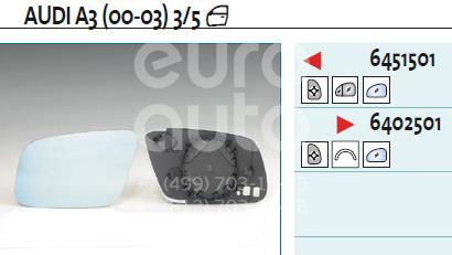 Стекло зеркала электрического правого Audi A6 [C6,4F] 2004-2011; (6402501)