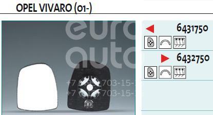 Купить Стекло зеркала электрического правого Opel Vivaro 2001-2014; (6432750)