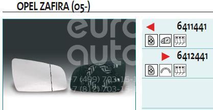 Стекло зеркала электрического правого для Opel Zafira B 2005-2012 - Фото №1
