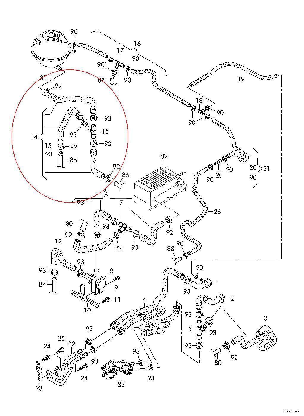 Шланг системы охлаждения для VW Jetta 2011>;Golf VI 2009-2013;Scirocco 2008>;Passat [B7] 2011-2015 - Фото №1