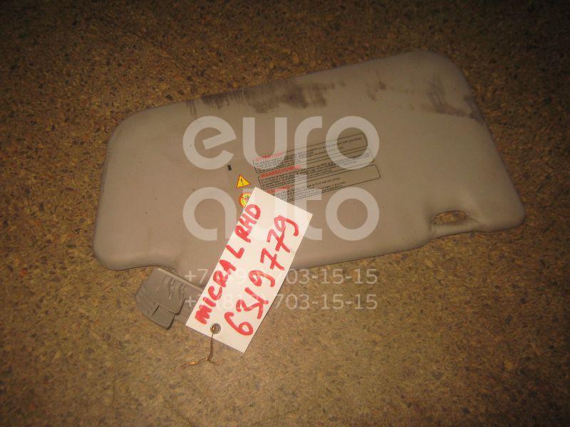 Козырек солнцезащитный (внутри) для Nissan Micra (K12E) 2002-2010 - Фото №1