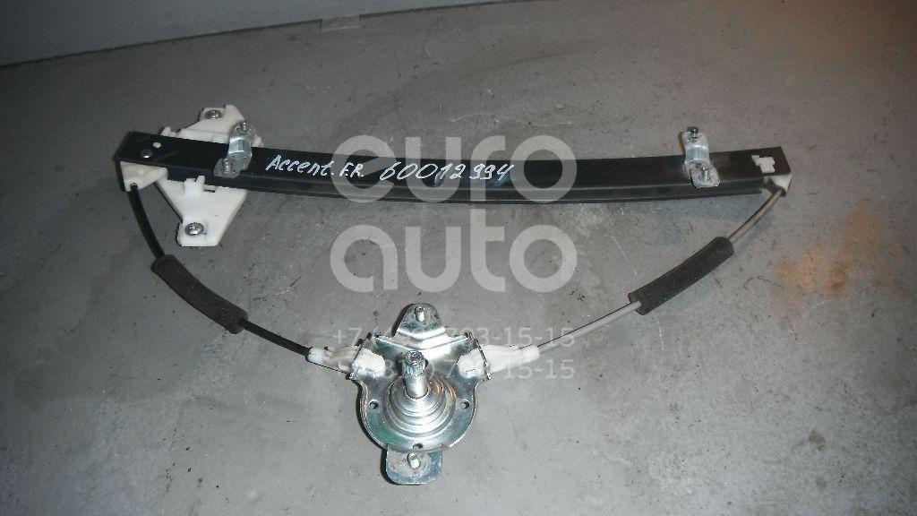 Стеклоподъемник механ. передний правый для Hyundai Accent II (+ТАГАЗ) 2000-2012 - Фото №1