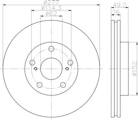 Диск тормозной передний вентилируемый для Toyota Corolla E18 2013> - Фото №1