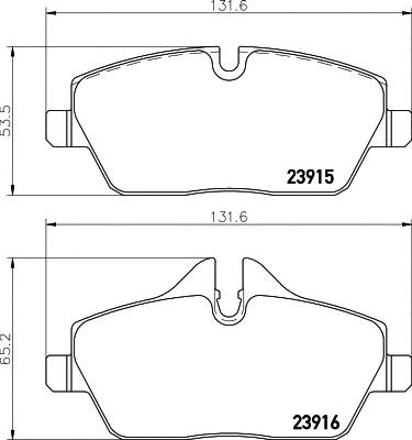 Колодки тормозные передние к-кт для Mini Clubman R55 2007-2014 - Фото №1