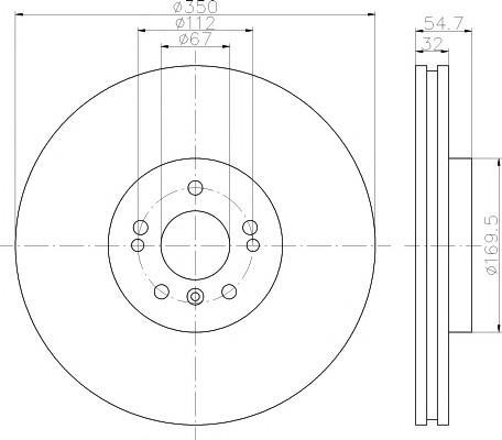Диск тормозной передний вентилируемый для Mercedes Benz W166 M-Klasse (ML/GLE) 2011-2015 - Фото №1