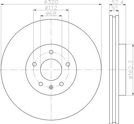 Диск тормозной передний вентилируемый для Audi A6 [C7,4G] 2011> - Фото №1