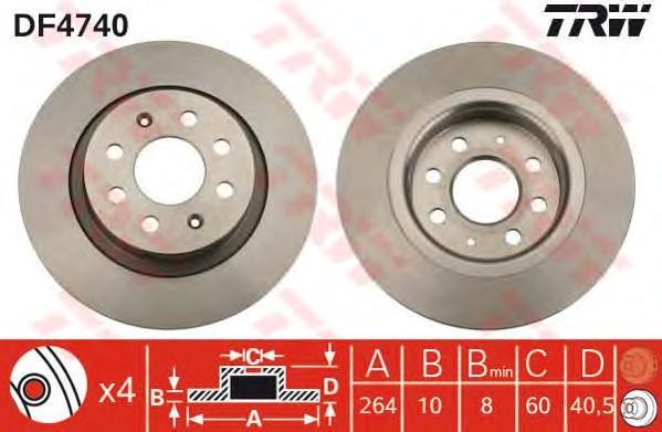 Диск тормозной задний для Fiat Punto III/Grande Punto (199) 2005> - Фото №1