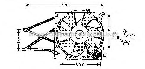 Вентилятор радиатора для Opel Zafira A (F75) 1999-2005 - Фото №1
