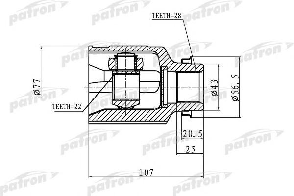 ШРУС внутренний передний для Kia Sephia II/Shuma II 2001-2004 - Фото №1