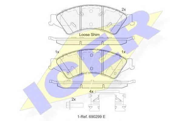 Колодки тормозные передние к-кт для Mazda BT-50 2012> - Фото №1