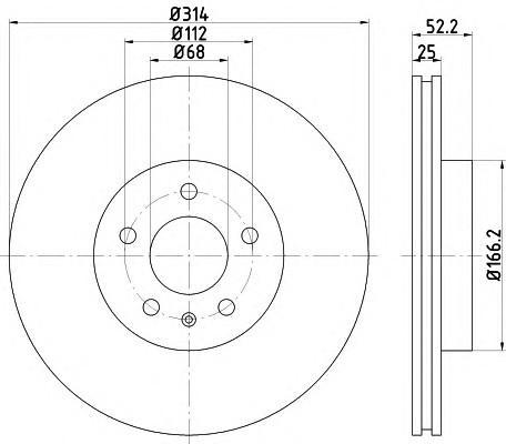 Диск тормозной передний вентилируемый для Audi A4 [B8] 2007-2015 - Фото №1