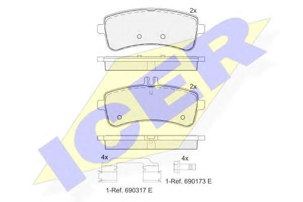Колодки тормозные задние дисковые к-кт для Mercedes Benz R231 SL 2012> - Фото №1