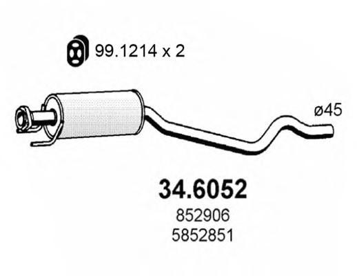 Часть глушителя 3-тья для Opel Astra F 1991-1998 - Фото №1