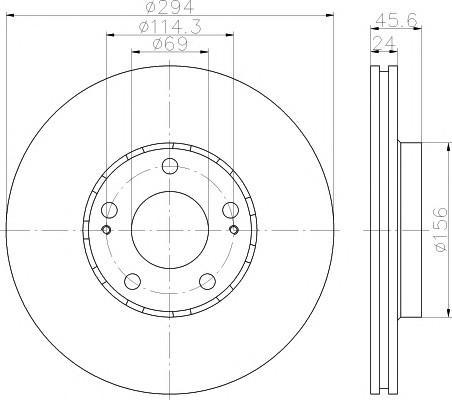 Диск тормозной передний вентилируемый для Citroen C-Crosser 2008> - Фото №1