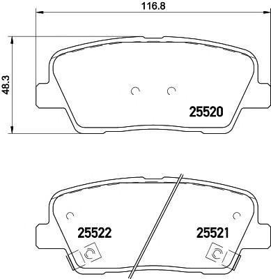 Колодки тормозные задние дисковые к-кт для Hyundai Santa Fe (DM) 2012> - Фото №1
