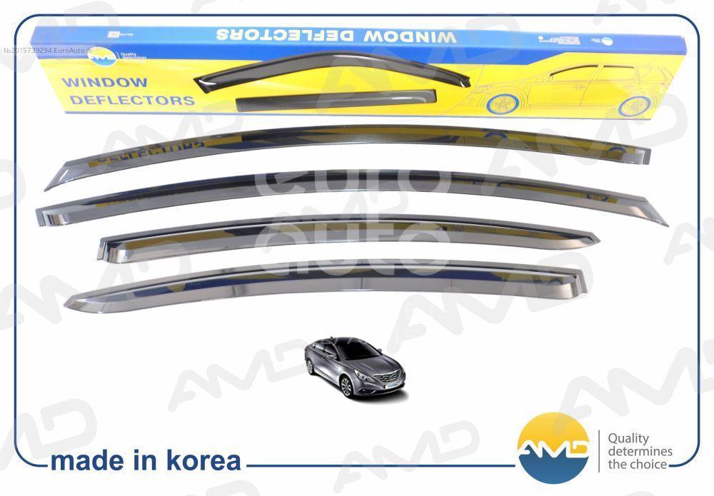 К-кт ветровиков (дефлекторы) бокового стекла для Hyundai Sonata VI 2010-2014 - Фото №1