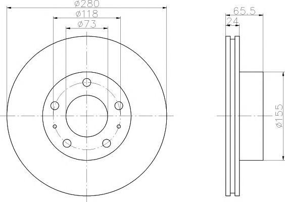Диск тормозной передний вентилируемый для Citroen Jumper 250 2006> - Фото №1