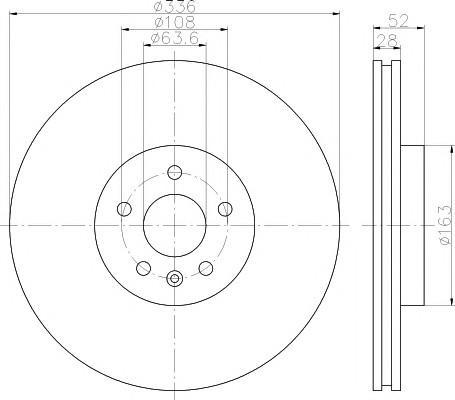 Диск тормозной передний вентилируемый для Volvo V70 2007-2013 - Фото №1