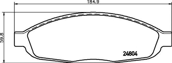 Колодки тормозные передние к-кт для Chrysler Pacifica 2003-2008 - Фото №1