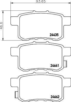 Колодки тормозные задние дисковые к-кт для Honda Accord VIII 2008-2015 - Фото №1