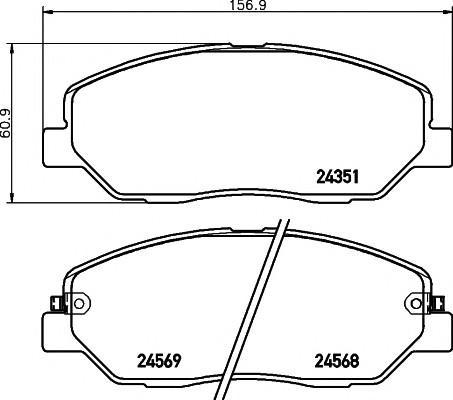 Колодки тормозные передние к-кт для Hyundai Grand Santa Fe 2013> - Фото №1