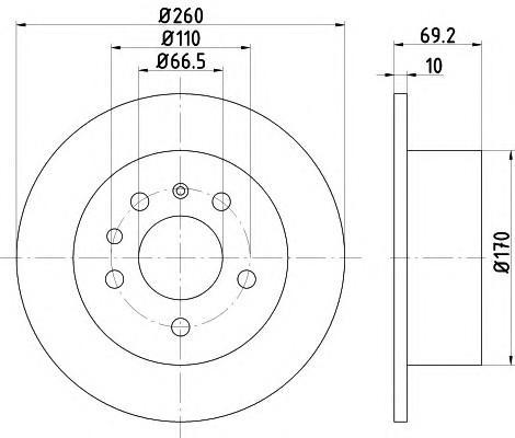 Диск тормозной задний для SAAB 9000CD 1994-1998 - Фото №1