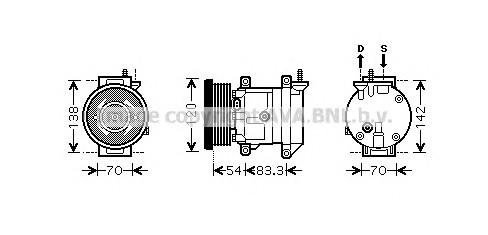 Компрессор системы кондиционирования для Chevrolet Aveo (T250) 2005-2011 - Фото №1