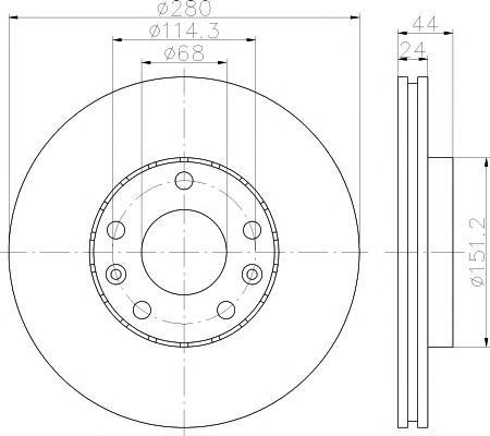 Диск тормозной передний вентилируемый для RENAULT DUSTER (2012>) (280*24 5)